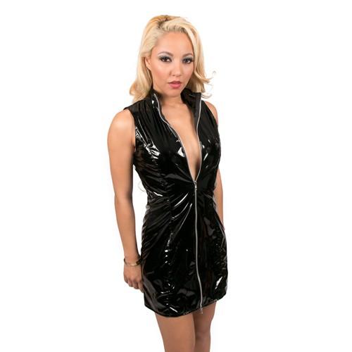 Lack Minikleid schwarz mit Zipp