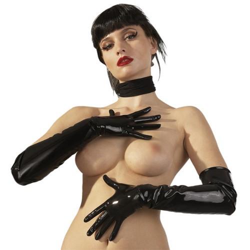 Latex-Handschuhe lang, schwarz