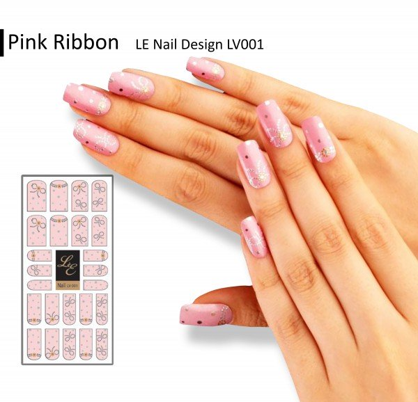 LE Nail Design LV001 - Pink Ribbon