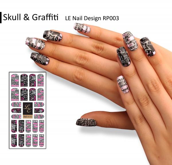 LE Nail Design RP003 - Skull & Graffiti