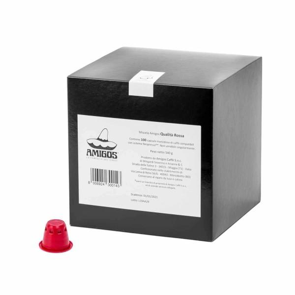 Amigos Kaffee Qualita Rossa 100 Kapseln für Nespresso® Maschinen