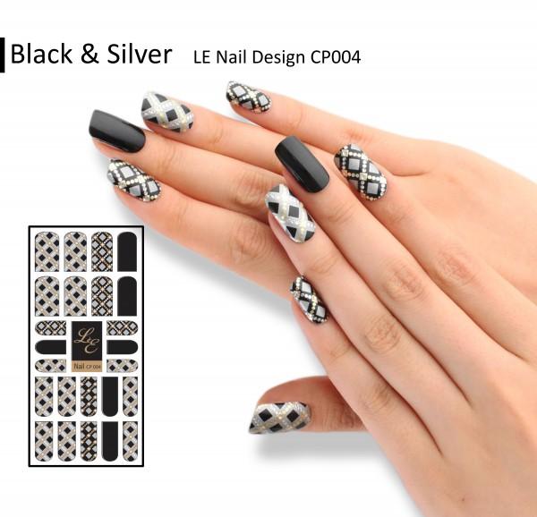 LE Nail Design CP004 - Black & Silver