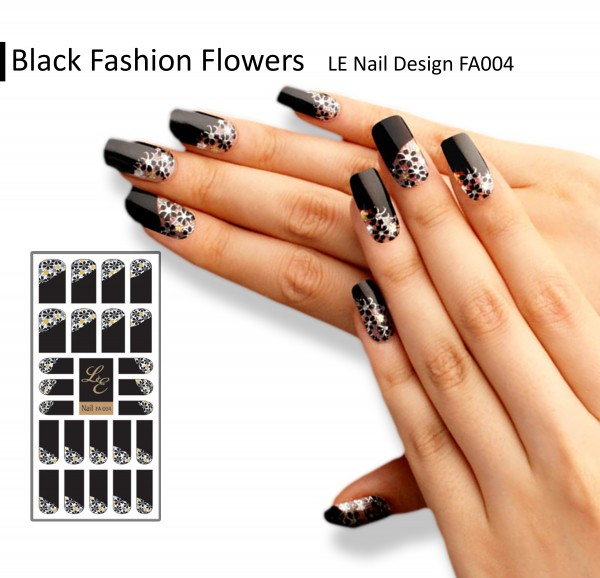LE Nail Design FA004 - Black Fashion Flowers