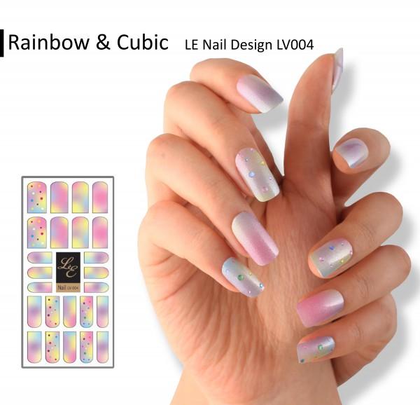 LE Nail Design LV004 - Rainbow & Cubic