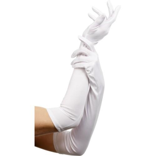 Lange Satin Handschuhe weiß
