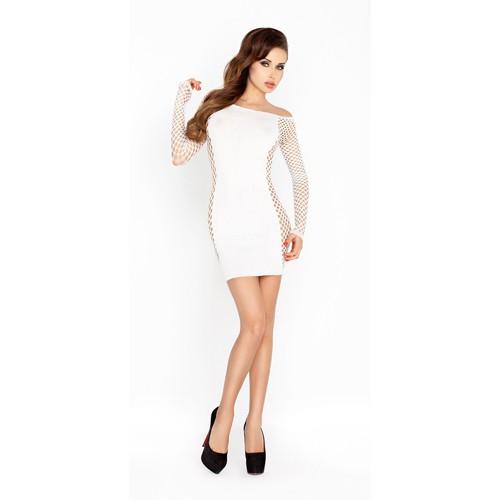 Weißes Minikleid mit Ärmeln aus Netz